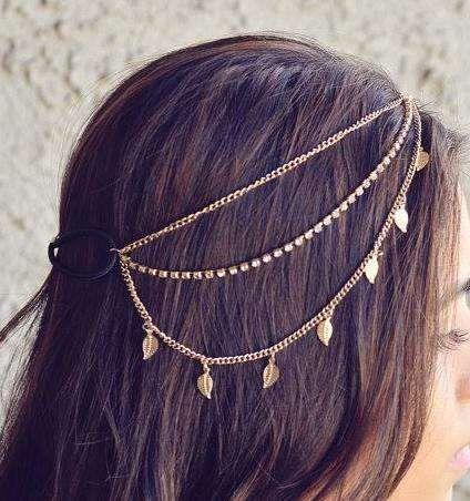 headchain tiara de cabelos correntes e folhinhas ouro velho