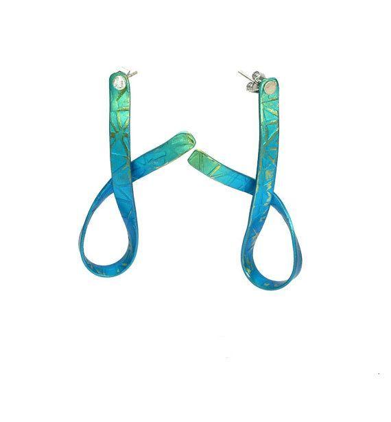 Titanium Stud Earrings, Ribbons Turquoise, Titanium Earrings, #Titanium Stud, Titanium Jewelry,Contemporary Large Earrings, #Geometric #Earrings