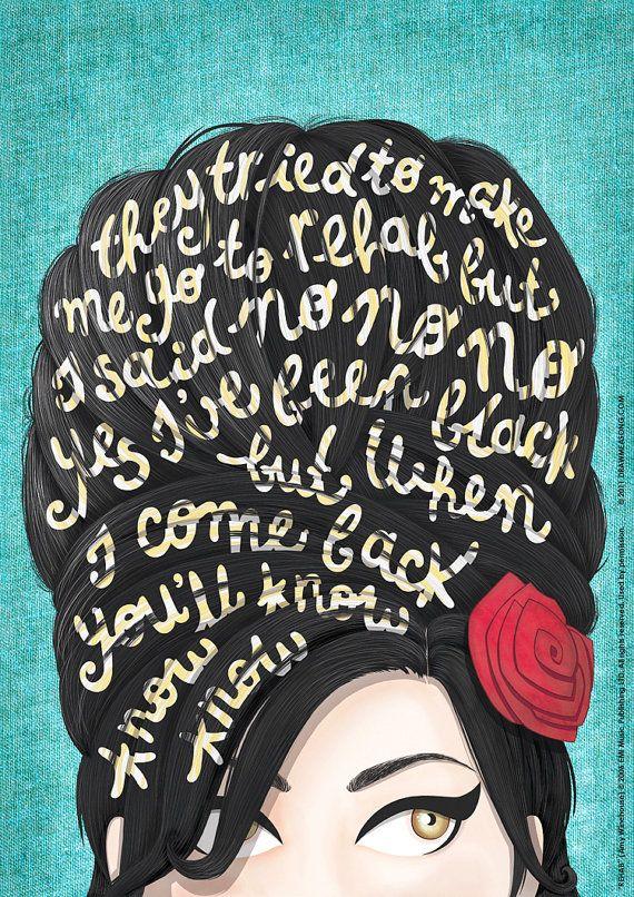 Rehab Amy Winehouse musique affiche paroles de par DrawMeASong