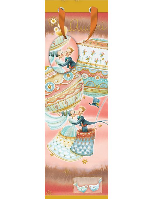 Elegantissima shopper porta bottiglia per matrimonio, in carta rinforzata, stampata a colori con dettagli lucidi color oro.