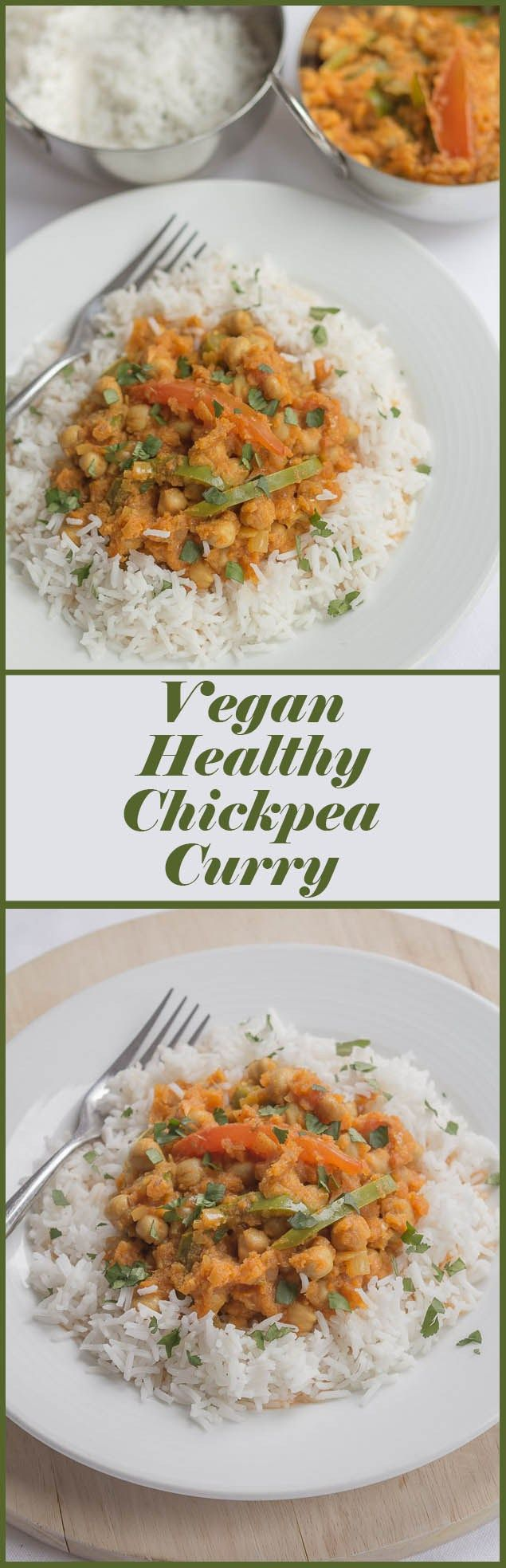 This tasty vegan vegetarian healthy chickpea curry is low cost, low calorie and extremely filling. One portion alone provides nearly 80% of your daily recommended dietary fibre recommendation.