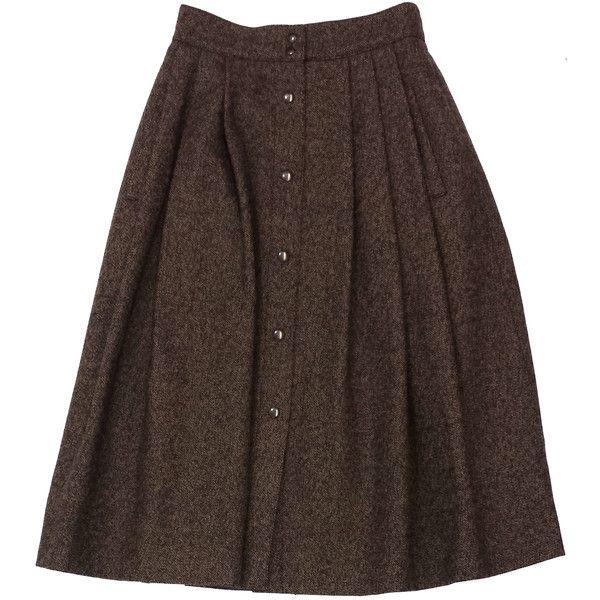 Pre-owned Guy Laroche Brown Wool Tweed Midi Skirt (695 HRK) ❤ liked on Polyvore featuring skirts, saias, guy laroche, tweed skirt, calf length skirts, brown tweed skirt and wool skirt