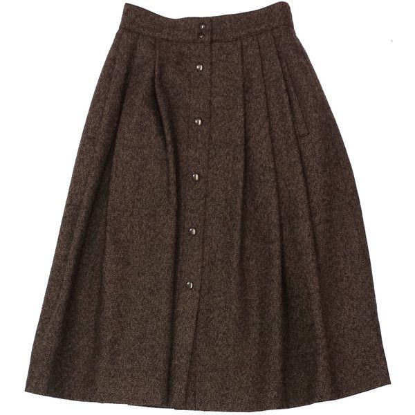 Pre-owned Guy Laroche Brown Wool Tweed Midi Skirt (370 BRL) ❤ liked on Polyvore featuring skirts, brown, button midi skirt, brown midi skirt, wool tweed skirt, mid-calf skirt and calf length skirts