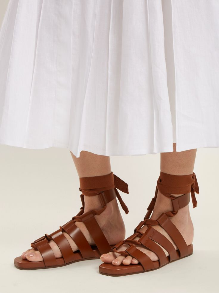 Click here to buy Jil Sander Wraparound gladiator leather sandals at MATCHESFASHION.COM