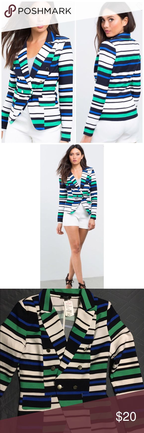 🎁Final Price🎁Striped Blazer PRICE ✂️IS FIRM...A standout blazer, featuring bold multi-colored stripes. Front button accents and single button closure. Notched collar. Long sleeves. Finished edges.  95% polyester, 5% spandex Brand is Boutique Five from A'gaci a'gaci Jackets & Coats Blazers