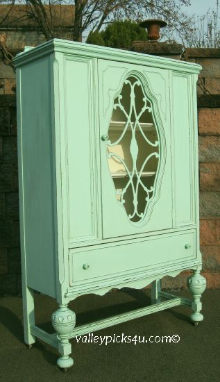 Shabby Chic AQUA Vintage CHINA CLOSET Cupboard Bathroom Kitchen Cabinet For Sale. $1,150.00, via Etsy.