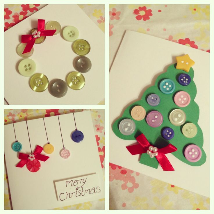 DIY Christmas Cards - handmade with buttons & ribbon details x