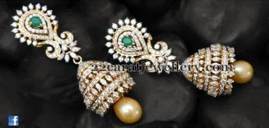Jewellery Designs: Diamond Jhumkas by JCS