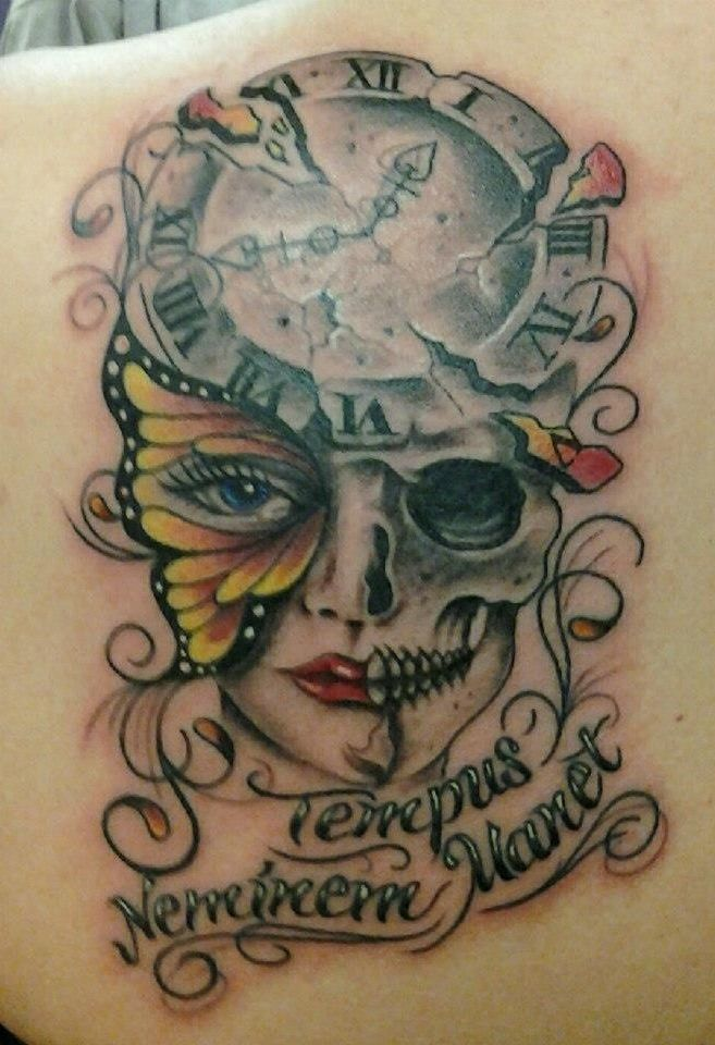 Time Waits For No One Clock Skull Face Tattoo INKspiration Pinterest Clock Awesome And