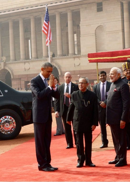 """#HISTORIC President Barack Obama clasped his hands in the traditional """"namaste"""" greeting #44thPresident #BarackObama is the #FIRST U.S. #President to #VISIT #India #twice during office, and is also the #FIRST #US #President to be the #CHIEF #GUEST at the #RepublicDay The U.S President, Barack Obama & #FirstLady #MichelleObama being warmly welcomed by the #PrimeMinister Mr. #NarendraModi, in New Delhi on January 25, 2015"""