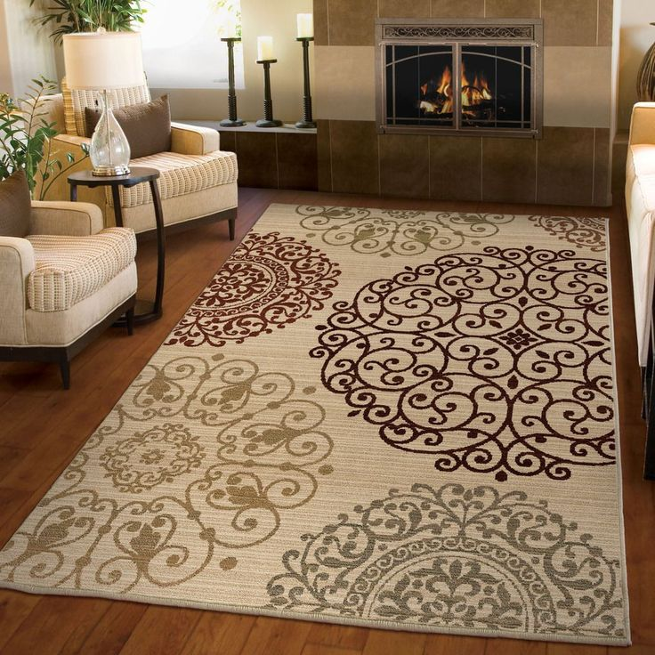 Carolina Weavers Ornate Expressions Collection Shifting Scrolls Ivory Area Rug