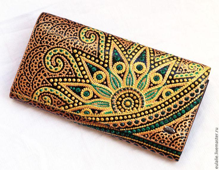 """Купить Кошелек """"Золотая индия"""" - орнамент, кошелек женский, кошелек из кожи, авторская роспись"""