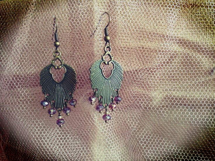 Antique Bronze Dangle Earrings - #ArtDeco  Visit me on FaceBook and Etsy at Sarah Rodger Jewelry