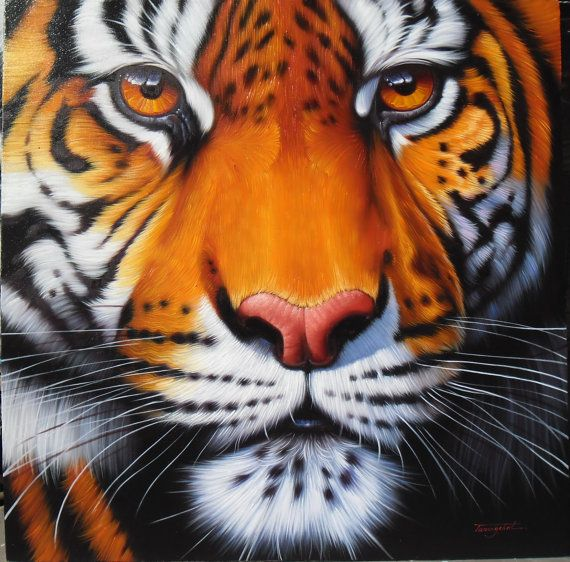 Tigre peinture peinture à lhuile sur toile.    Taille 40 « X 40 »    Artiste : Tanongchat    Jai envoyer la peinture soigneusement enveloppée