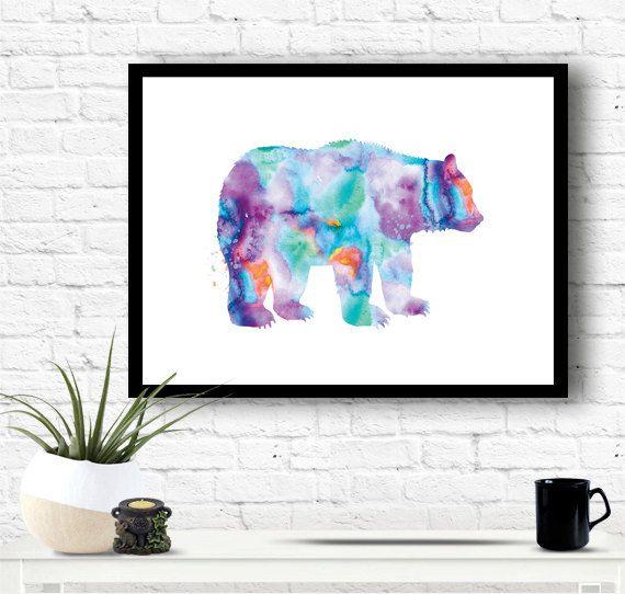 Bear watercolour painting, blue bear print bear wall hanging bear decor watercolor print watercolor poster bear animal water-colour art WT38 by artRuss on Etsy