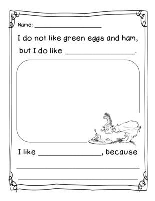 Dr. Seuss Green Eggs and Ham Opinion Activity from Kindergarten Busy Bees on TeachersNotebook.com (2 pages)