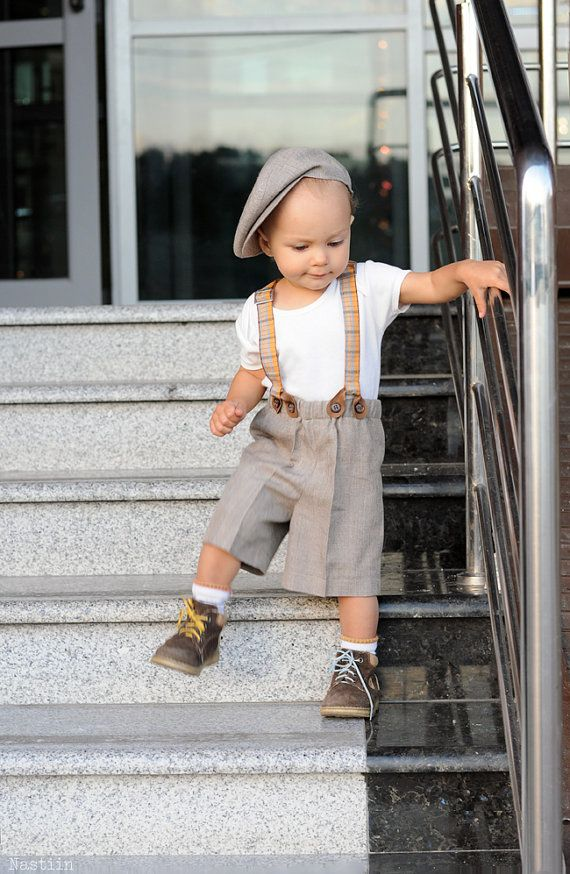 Baby boy formal wear Brown newsboy cap shorts suspenders tartan plaid bowtie Boy wedding clothes 1st birthday Easter set Baby boy photo prop