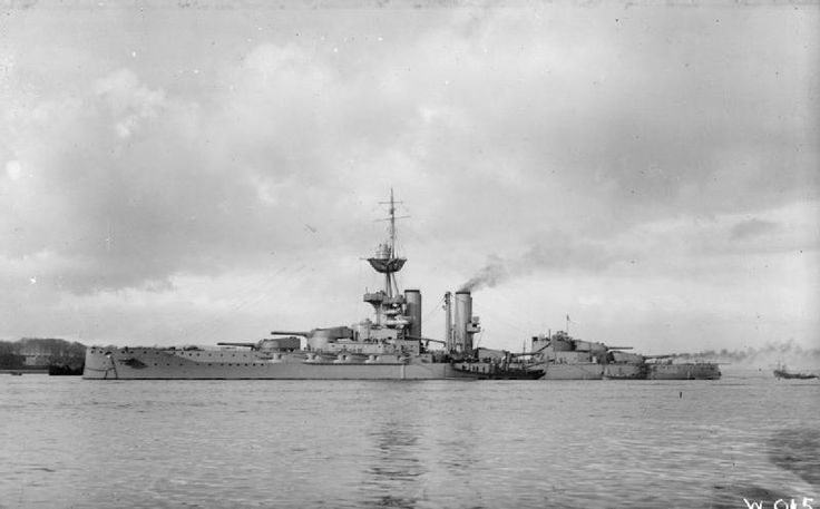 HMS Emperor of India at Invergordon, 1915.  She was a sister of Grand Fleet flagship HMS Iron Duke.