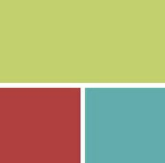 Kid's Room: Pear Green with Chili Pepper Red and Peacock Blue (Benjamin Moore)