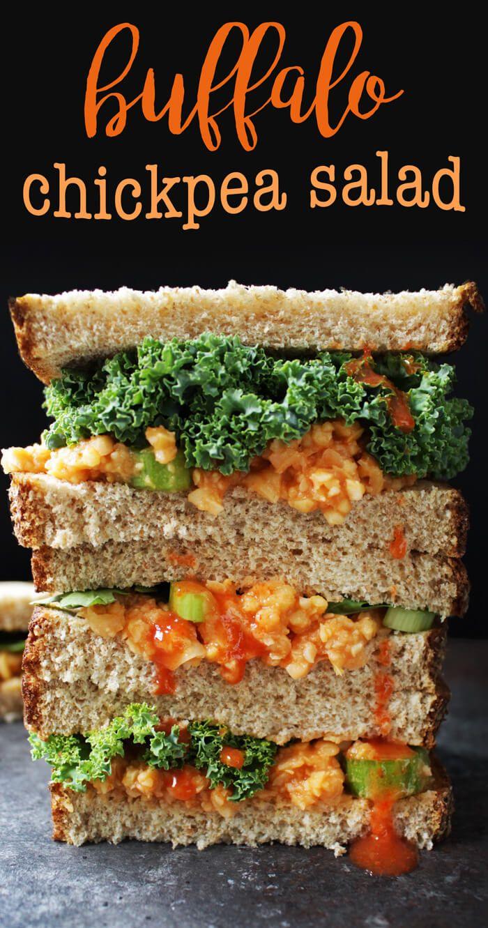 Vegan Lunch Idea: Buffalo Chickpea Salad Sandwich Recipe! Oil-free, gluten-free, vegetarian, delicious. via @thecrunchychron
