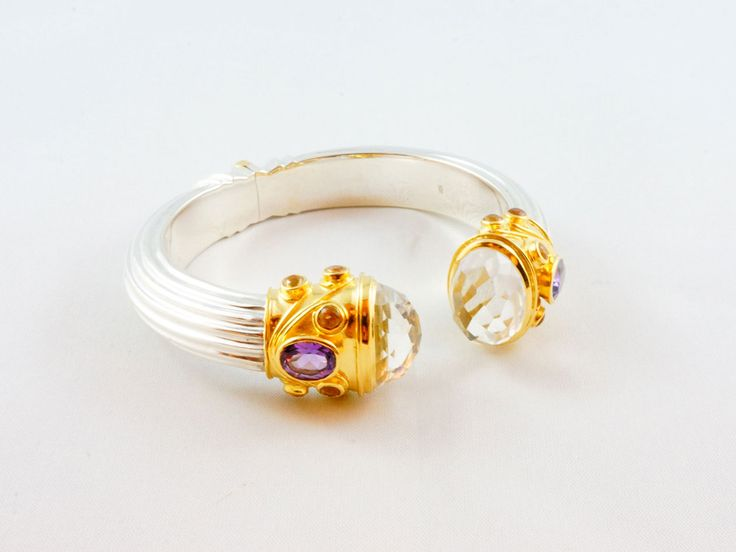 Greek Goddess - Sterling Silver 24 kt gold micro plated Cuff beautifully embellished with 2 large colourless Zircon, Amethyst and Citrine semi precious stones.