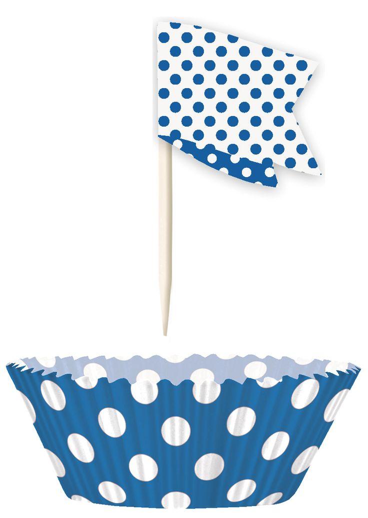 Moules à cupcakes et pics de décoration à pois, décoration anniversaire et fêtes à thème sur Vegaoo Party