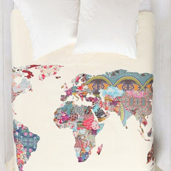Patchwork World Map Duvet Cover #travel
