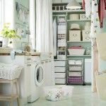 Small Laundry Room Ideas With Fabric Door Pockets In The Wall Of Small Laundry Room Organization
