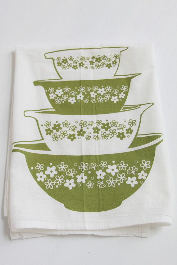 green daisy blossoms bowls tea towel by janetmorrin