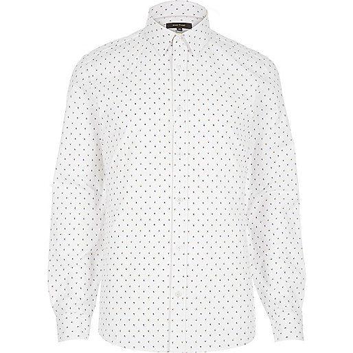 White micro print long sleeve shirt - long sleeve shirts - shirts - men
