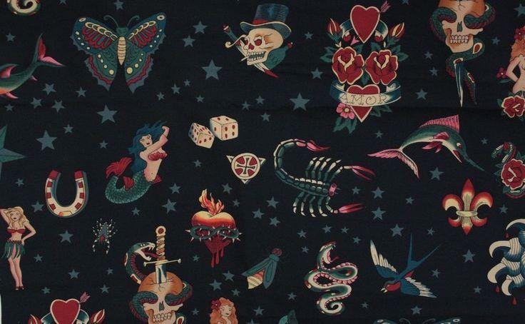 Alexander Henry TATTOO TOO Decor Twill Fabric BTY Snake Scorpion Mermaid Dice #AlexanderHenry
