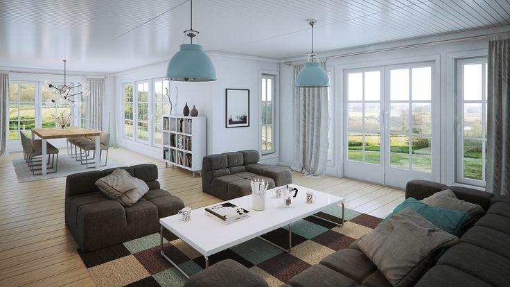 Stuen i Herregård er lys og luftig og et nydelig sted å nyte utsikten og omgivelsene utenfor.