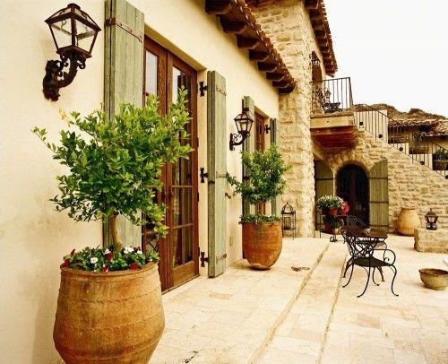 Elevation Stone On Walls Corbels Shutters Terra Cotta Pots Roof Tiles Coach Lights Doors
