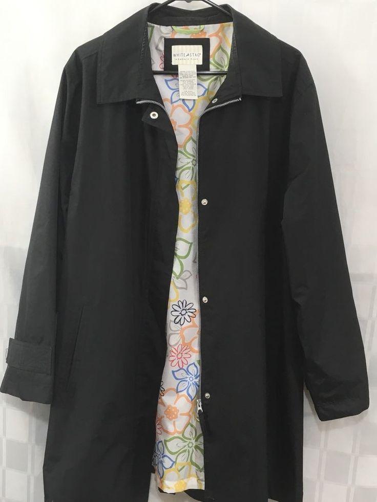 "White Stag Womens Rain Coat Plus 2X 18/20W Black Trench All Weather Jacket 35""L #WhiteStag #Raincoat #Business"