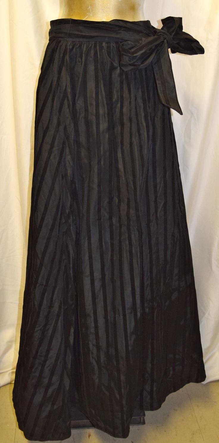 Vintage Black Cheata B Evening Pin Stripe Long Formal Skirt