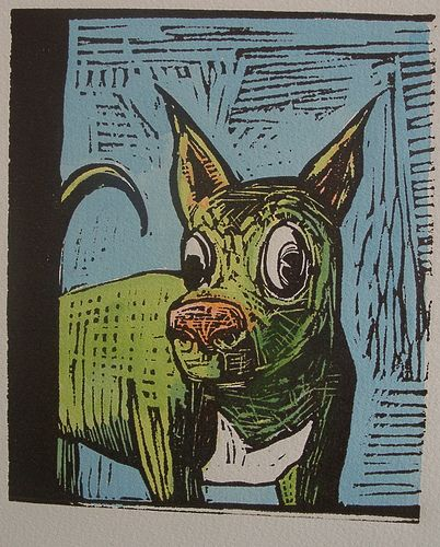 *That Dog* - 'What's on his little green mind...' - Lino cut print on Arches paper - From S. Robber series
