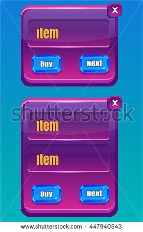 Mobile Game UI/ Asset Reskin - stock vector