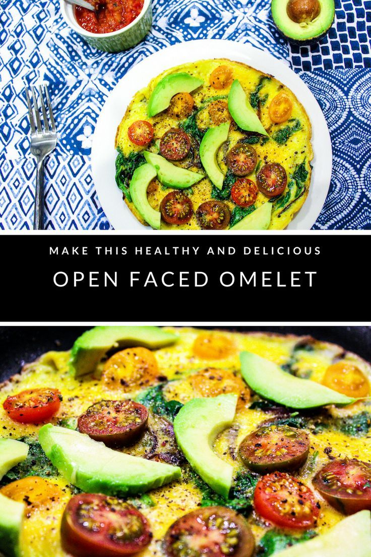 Tasty and healthy omelet recipe with caramelized red onions, cherry tomatoes, and spinach.