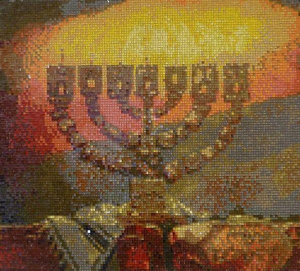 Pixel-Glass мозаика . Менора-семисвечник.