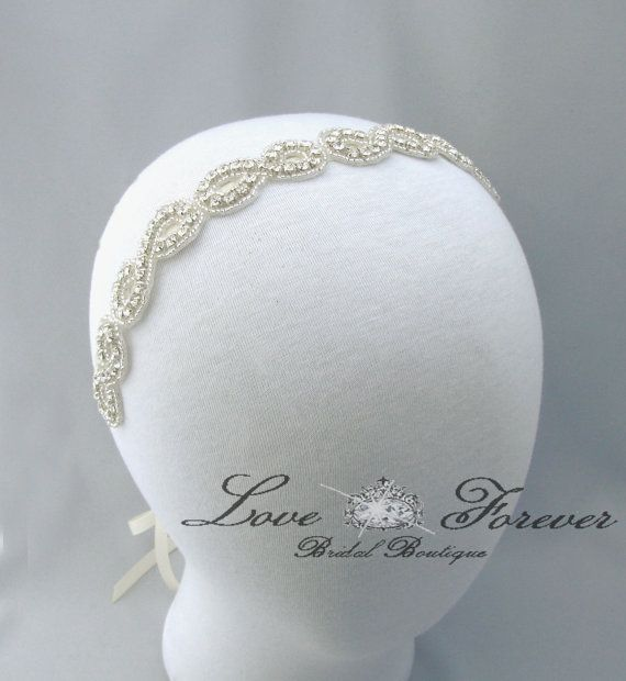 Infinity Symbol Wedding Headband, Crystal Rhinestone Bridal Headpiece, Satin Ribbon Bride Headband on Etsy, $45.00