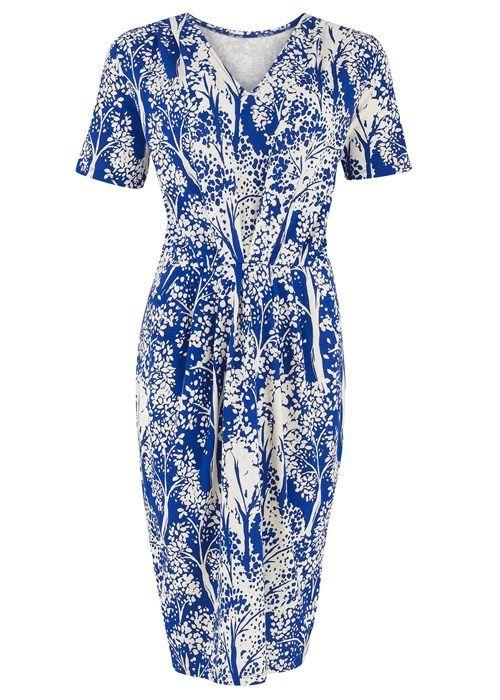 Agnes Dress Tree Print in Blue