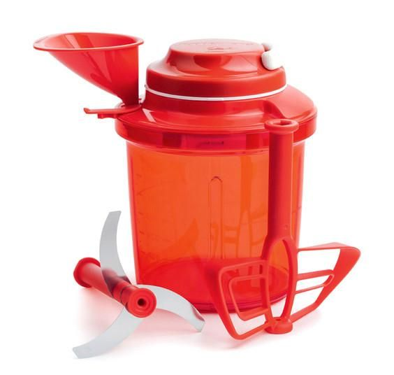 Tupperware UK Extra Chef  £ 69.35  // smooth pull-cord mechanism to spin triple blades or the paddle whisk, depending on your requirements, and is a dab-hand at blending, chopping, puréeing and whisking a variety of ingredients from herbs, vegetables, fruit, liquids and more.