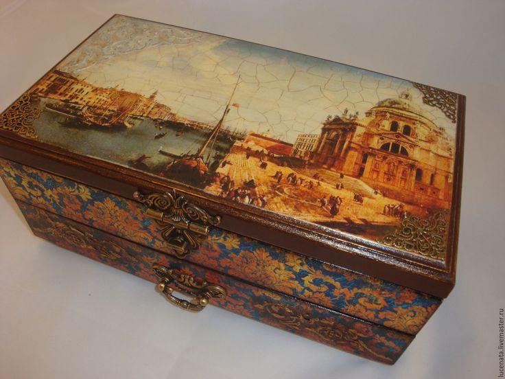 """Купить Шкатулка """"Венецианский купец"""" - коричневый, шкатулка, шкатулка для украшений, шкатулка деревянная"""