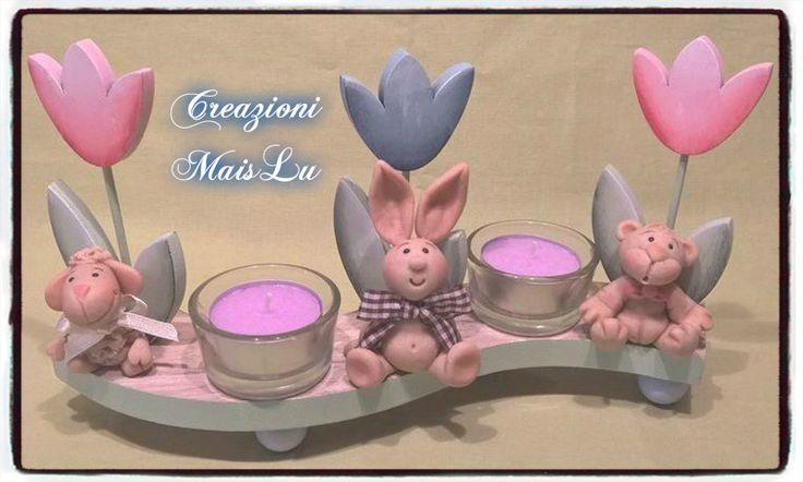 Centrotavola primaverile in legno dipinto a mano con lumini profumati e deco animaletti in pasta di mollica