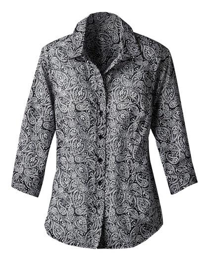 Black and white paisley shirt with darts.Paisley Print