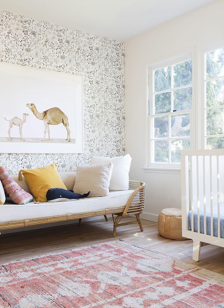 Beautiful boho style nursery for a little girl..love the camel print