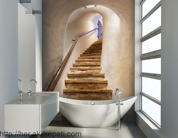 Badezimmertapete Mit Gemusterter Rohholztreppe Badezimmertapete