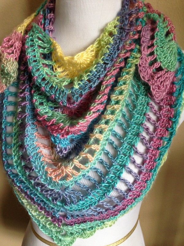 Handmade Crochet Summer Scarf / Shawl in 2015 Spring Colors