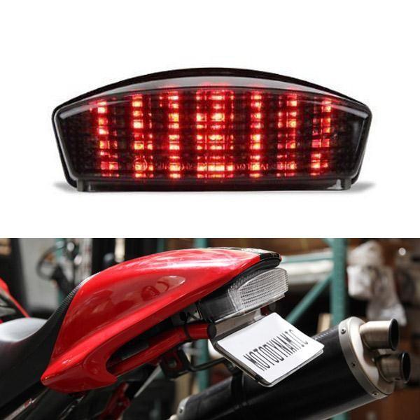 [Visit to Buy] Ironwalls Smoke Motorcycle LED Rear Tail Light Tailight Running Brake Turn Signal 12V For Ducati Monster 1000 600 620 IE 696 S4R #Advertisement