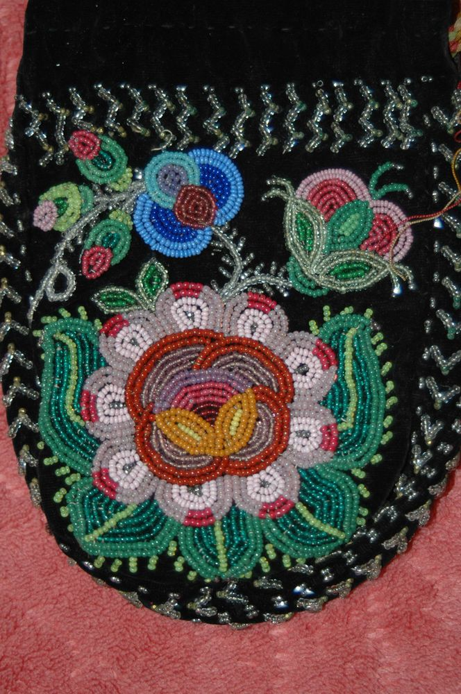 Antique French Canadian Mentis Indianu0027s Beaded Draw
